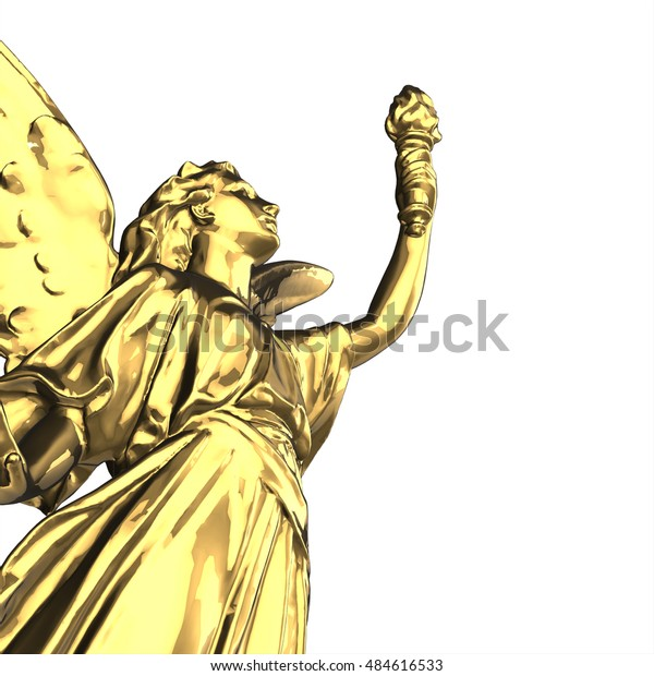 Victory Angel Column Statue 3d Render Stock Illustration
