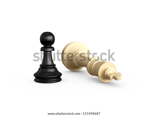 Victory, dark pawn defeats light king, isolated on white background.