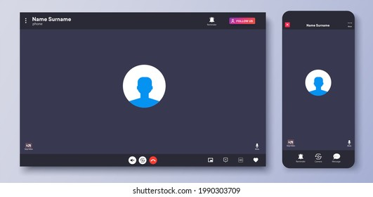 Video call interface. Web chat UI screen mockup. Call screen template. Mockup UX,Kit interface. Application for calls and online conference meeting. Communication windows for mobile app and desktop