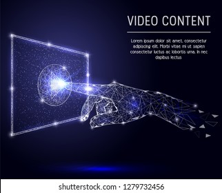 Video content concept polygonal art style illustration. Human hand touching play button on screen low poly wireframe mesh made of points, lines and shapes. Video streaming technology.