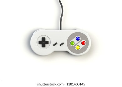Video game console GamePad. Gaming concept. Top view retro joystick isolated on white background, 3D rendering