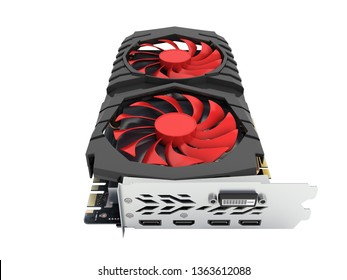 Video Graphic card GPU isolated on white background 3d render without shadow