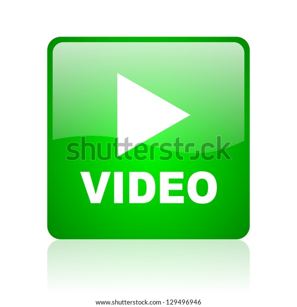 video green square web icon on white background