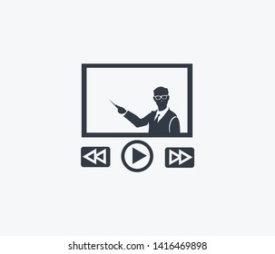 Video lesson icon isolated on clean background. Video lesson icon concept drawing icon in modern style.  illustration for your web mobile logo app UI design.
