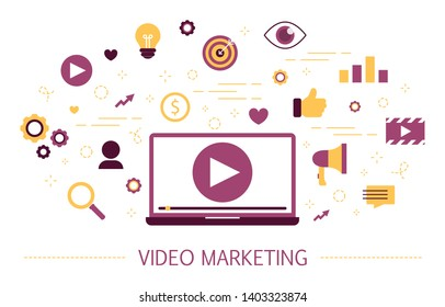 Video marketing concept. Advertising and promotion online in the internet using video content. Digital ads.