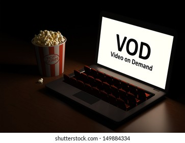Video on  Demand. Laptop as an cinema. Home entertainment. View the video by subscription.