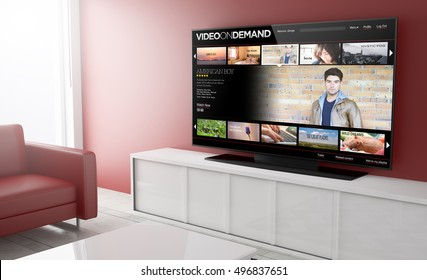 video on demand on smart tv on a living room. 3d Rendering.