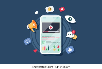Video on mobile screen, video sharing and marketing flat concept with icons. Create video content and make money illustrate. Audit report and marketing data analysis concept. Website