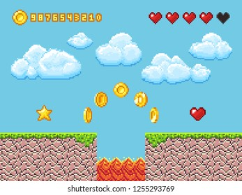 Video pixel game landscape with gold coins, white clouds and red hearts illustration