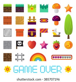 Video platform game interface design elements. Different separated blocks to construct your own game level. Vintage style game design. Pixel game