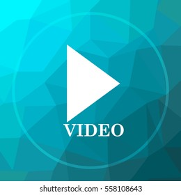 Video play icon. Video play website button on blue low poly background.