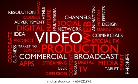 Video production word tag cloud. 3D rendering, red variant.