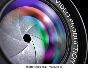 Video Production Written on a Lens of Camera. Closeup View, Selective Focus, Lens Flare Effect. Video Production Written on a SLR Camera Lens. 3D Illustration.