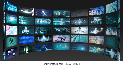 Video Screens Abstract Background for Multimedia Concept 3D Render