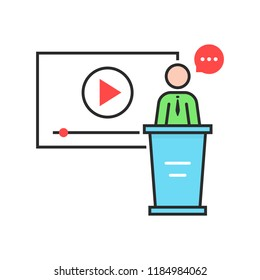 video seminar with spokesman. concept of class, tablet, leader, personal tutor, teamwork, university, presentation, orator. flat style trend modern logo design illustration on white background