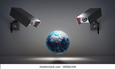 Video surveillance and privacy issues concept illustration.