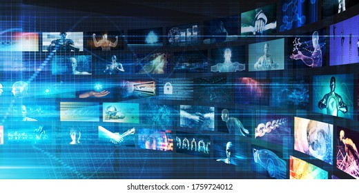 Video Technology Reaching Images and Content Streaming Digital 3d Render