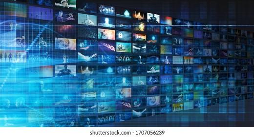 Video Tiles Broadcasting Multimedia Entertainment Technologies 3D Render