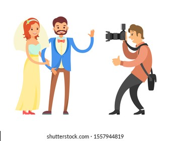 Videographer or photographer taking photo reportage of engagement ceremony. Happy couple on wedding, bride and groom and cameraman raster isolated