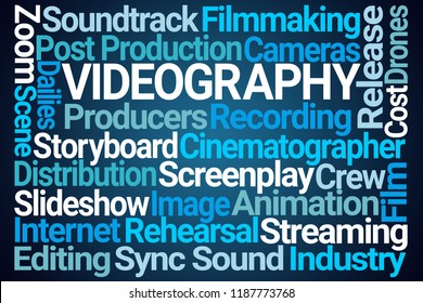 Videography Word Cloud on Blue Background