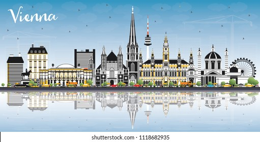 Vienna Austria City Skyline with Color Buildings, Blue Sky and Reflections. Business Travel and Tourism Concept with Historic Architecture. Vienna Cityscape with Landmarks.