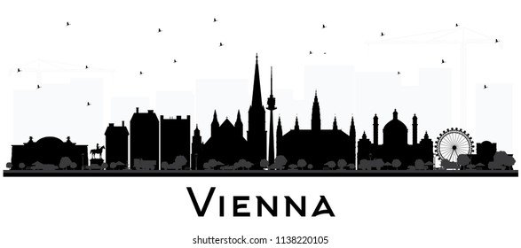Vienna Austria City Skyline Silhouette with Black Buildings Isolated on White. Business Travel and Tourism Concept with Historic Architecture. Vienna Cityscape with Landmarks.
