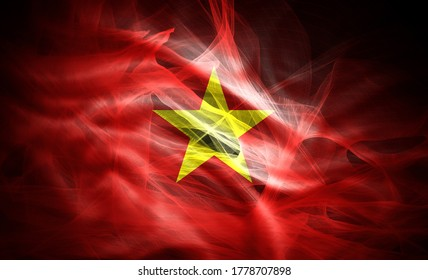 Vietnam flag made from colored abstract silk -3D illustration