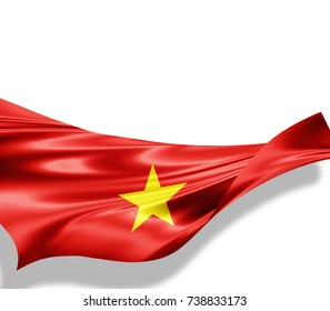 Vietnam flag of silk with copyspace for your text or images and white background -3D illustration