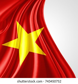 Vietnam flag of silk with copyspace for your text or images and white background-3D illustration