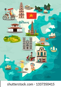 Vietnam map. Illustrated map of Vietnam for children/kid. Cartoon abstract atlas of Vietnam with landmark and traditional cultural symbols. Travel attraction icon