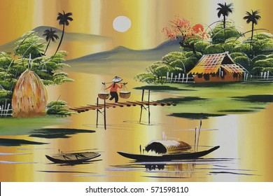 Vietnam traditional painting. Hand drawn picture