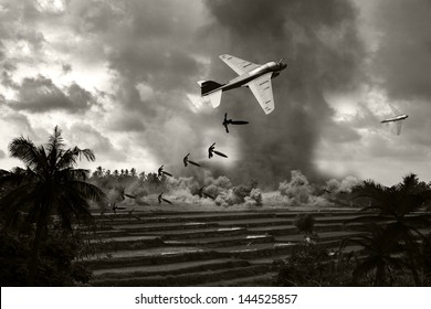 Vietnam War 'style' B&W image circa 1970 of two Intruder fighter bombers flying low over the rice paddies of South Vietnam unloading their bomb arsenal on the enemy positions. (Artist's Impression)