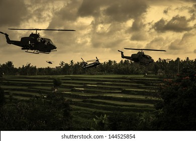 Vietnam War 'style' image circa 1970 helicopters flying over South Vietnamese rice paddies looking for the North Vietnamese Army. (Artist's Impression)