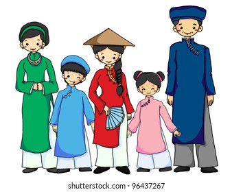 Vietnamese family in Vietnamese Traditional costume