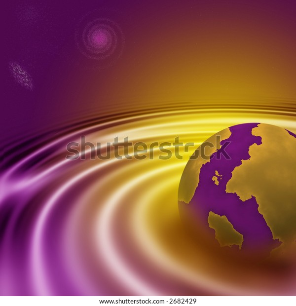 View of an abstract purple and yellow planet and universe
