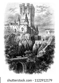 View of the Alcazar of Segovia, vintage engraved illustration. Magasin Pittoresque 1844.