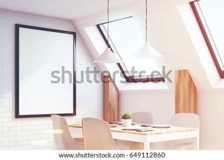 View Attic Kitchen White Walls Long Stock Illustration 649112860 ...