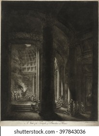 View of the Bacchus temple in Rome, by Jacques Fran\x8Dois Blondel, 1760s, French print, mezzotint. View from entryway into a temple with a hemispheric dome similar to the Pantheon in Rome.