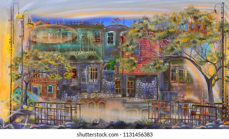 View from the balcony on evening town, oil painting scenery