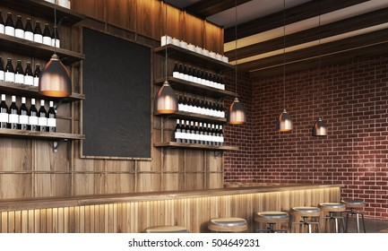 View of bar with blackboard, dark brick walls and wine bottles on shelves. Concept of trendy place to relax. 3d rendering. Mock up.