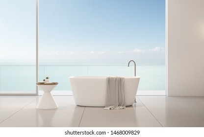 View of bathtub with side table and towel on sea view background,Modern interior design with timber and white wall. 3D rendering