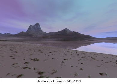 View of the beach, a rocky landscape,  red clouds in the blue sky and a wonderful mountain.