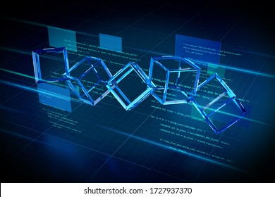 View of a Blockchain abstract background illustration - 3d rendering