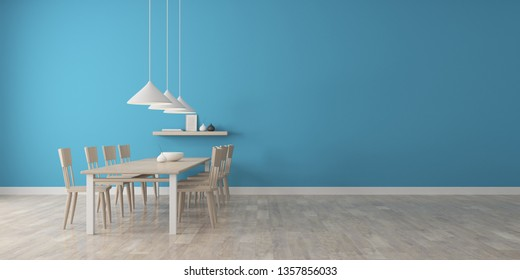 View of blue dining room in Scandinavian style with wood table and furniture on laminate floor.Perspective of minimal design architecture. 3d rendering.