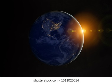 View of blue planet Earth at night with cities lights on America 3D rendering elements of this image furnished by NASA