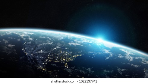 View of blue planet Earth in space with her atmosphere America continent 3D rendering elements of this image furnished by NASA