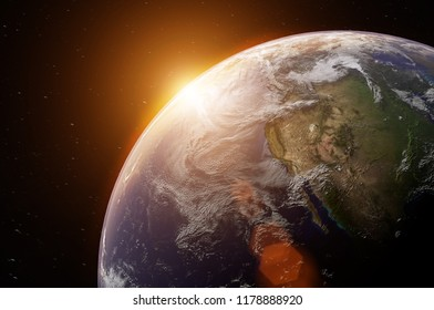 View of blue planet Earth in space,  elements of this image furnished by NASA ,3D rendering