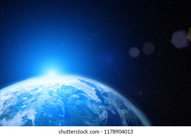 View of blue planet Earth in space during sunrise,  elements of this image furnished by NASA ,3D rendering