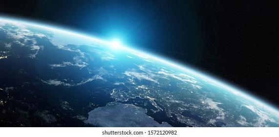 Blick auf den blauen Planeten Erde im Weltraum mit ihrer Atmosphäre Europa Kontinent 3D Rendering Elemente dieses Bild von der NASA