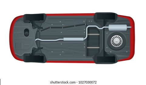 View from the bottom of a modern car, illustration.